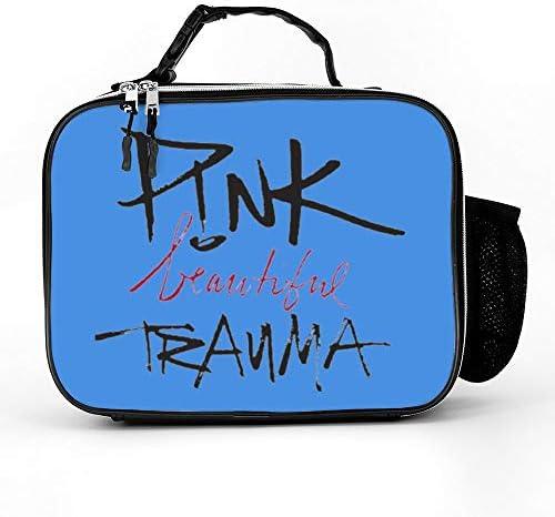P!NKビューティフルトラウマ 女性男性大人の大学の仕事のピクニックのための取り外し可能な革食事パックランチバッグ