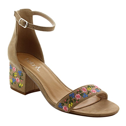 Betani Fk45 Da Donna Con Cinturino Alla Caviglia Ricamato Con Cinturino Alla Caviglia E Sandali Con Tacco Beige