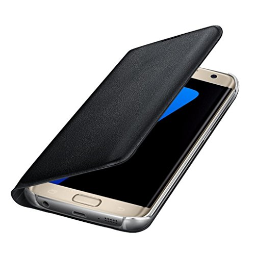 Price comparison product image New Luxury Leather Wallet Card Flip Aobiny Cell Phone Case Mobile Cover For Samsung Galaxy S7 Edge (Black)