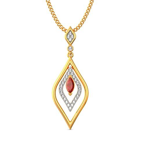 18K Or jaune 0,15CT TW Round-cut-diamond (IJ | SI) et rubis Pendentif