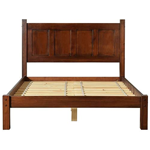Grain Wood Furniture Shaker Panel Queen Solid Wood Platform Bed Cherry Merlot ()
