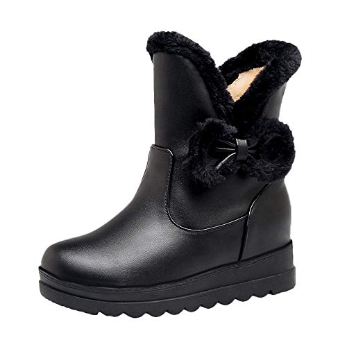 Clearance Women's Winter Carnival Ankle Snow Boot,Warm Bow Flat Shoe Non-Slip Short Tube Snow Boots (Black, US:5.5)