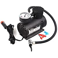 KBF Air Pump Compressor 12V Electric Car Bike Tyre Tire Inflator/Compact Durable Car Air Compressor Car Tire Inflator Auto Air Compressor Tire Pump with Pressure Gauge for Car Bicycle Ball Rubber Dinghy DC 12V