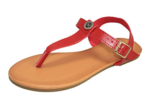 Cambridge Select Women T-strap String Buckled Slingback Platte Sandaal Wijn Pu