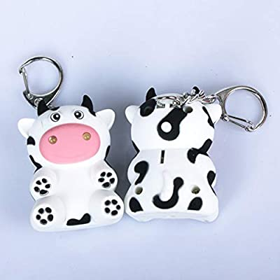 Anniston Kids Toys, Cute Milk Cow Doll Pendant LED Light Sound Keychain Key Holder Bag Ornaments Classic Toys Perfect Fun Time Play Activity Gift for Boys Girls: Toys & Games