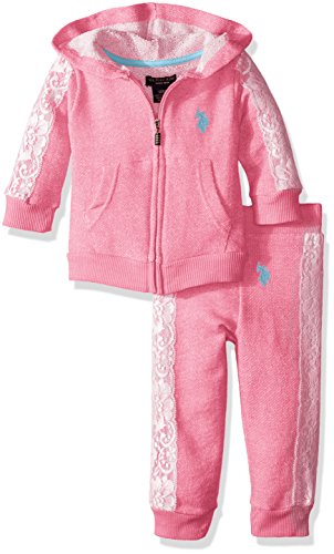 Terry Zip Pocket Pant (U.S. Polo Assn. Baby Girls' Neon French Terry Hoody and Jogger Pant, Pink Lemonade, 24 Months)