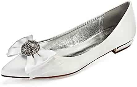 32a90e5332bc MarHermoso Womens Pointed Toe Slip On Elegant Bowknot Rhinstones Ballet  Flats