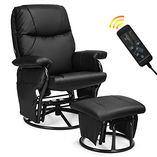 Giantex Glider Recliner with Ottoman, Swivel Glide Rocking Chair with Footrest Stool, 2 Massaging Zones & 4 Vibration Motors, PU Leather Lounge Armchair, 360 Swivel Overstuffed Padded Seat Chair