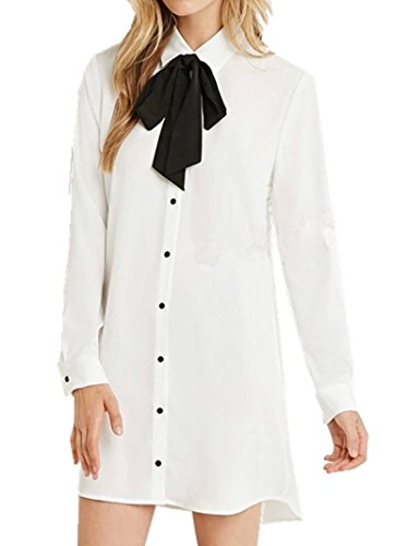 Sorrica Womens Casual Long Boyfriend Button Down Tie-bow Neck Shirt Dress Tunic Top Blouse (L, White)