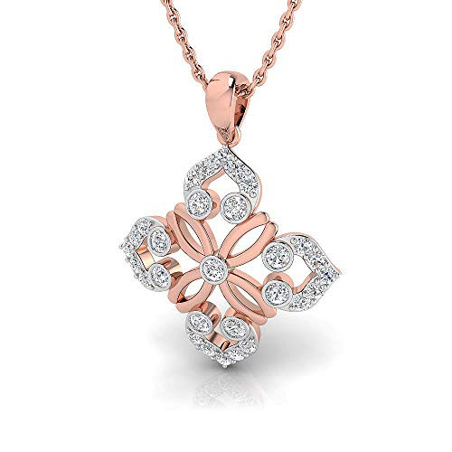 3/8 ctw Floral Design Sterling Silver Lab Grown Diamond or Lab Created Diamond Pendant for Women. Jewelry Gifts. ()