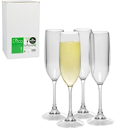 Unbreakable Champagne Glasses: 100% Tritan - Shatterproof, Reusable, Dishwasher Safe (Set of 4) by D'Eco (Glassware Colony)