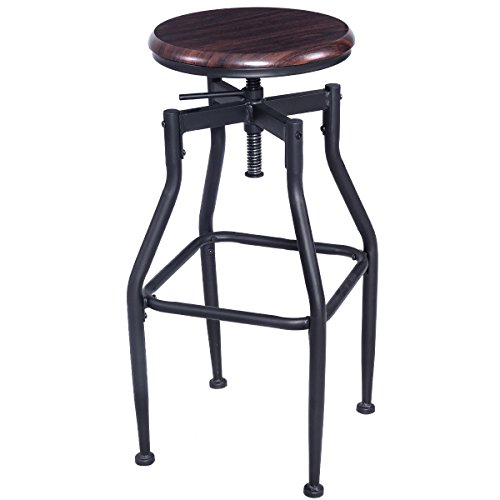 COSTWAY Vintage Bar Stool Metal Adjustable Swivel Armless Bistro Pub Counter Height Retro Finish Industrial Style -