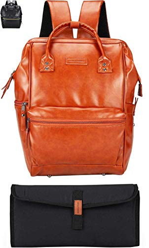 Classic Faux Leather Baby Diaper Bag Backpack, Unisex Wide Open Laptop Bag with Stroller Straps, Changing Pad, Multiple Insulated Pockets for Parents Natural Tan Brown