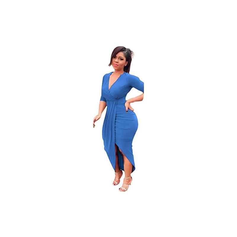 Kimloog Wrap Dress, Women V Neck 3/4 Sle
