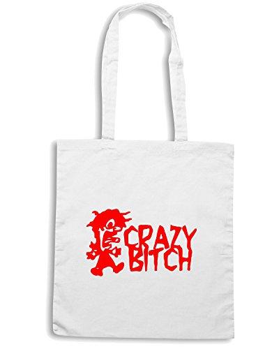 T-Shirtshock - Bolsa para la compra FUN0362 478 crazy bitch vinyl decal 62393 Blanco