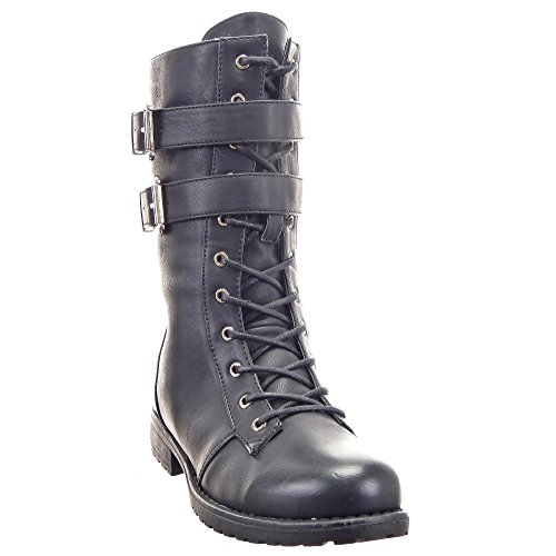 Sopily - Zapatillas de Moda Botines Botas militares Media pierna mujer Hebilla Cremallera Talón Tacón ancho 3 CM - plantilla sintética - forradas en piel - Negro