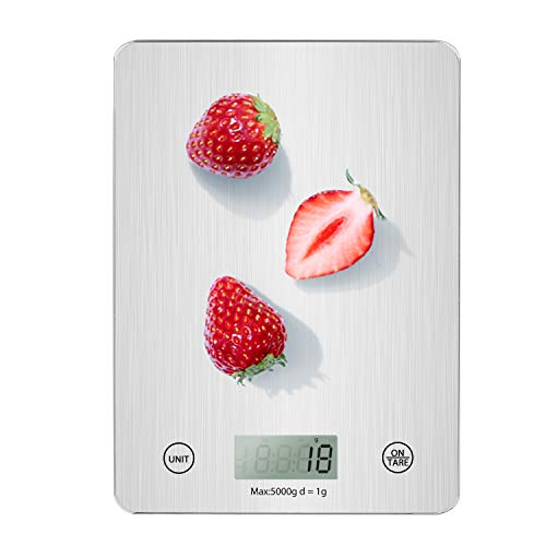 Digital Kitchen Scale, 5KG Slim Food Scale, Mini Multifunction Glass Digital Scale with Precision Measuring, Electronic Scale, Baking Cooking, LCD Display, Tare & Auto Off Function(Batteries Included)