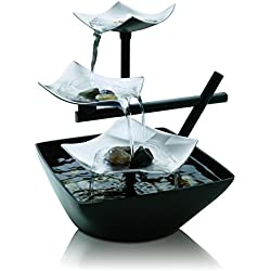 Silver Springs Relaxation Fountain | Illuminated Waterfall, Natural Stones, Soothing Sounds, Tabletop Zen Fountain | Indoor or Outdoor, On/Off Switch, Automatic Pump | EnviraScape HoMedics