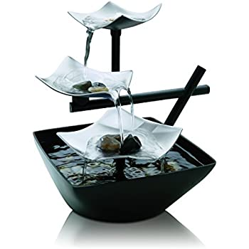 HoMedics Silver Springs Indoor Relaxation Fountain, Illuminated Waterfall, Automatic Pump