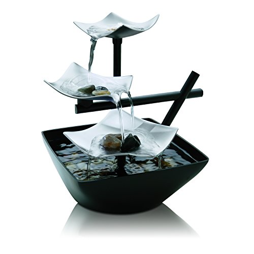 HoMedics Envirascape Silver Springs Illuminated Relaxation Fountain with Natural Stones, Stress Reliever, Natural Sound, Great For Office, Living Room, Vacation House, (Homedics Envirascape Water)