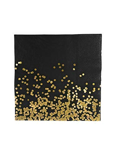 Party Chic Black and Gold Dot Disposable Napkin Gold Foil Dinner Napkin Pack of 50 for Party Wedding Elegant Fancy Decorations Holiday Anniversary Birthday Supplies Bachelorette Bachelor Baby Shower