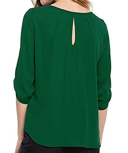 4 Maglietta Bluse Cime Donna Top Moda Maniche con Bottoni Primavera Quotidiani 3 Camicetta Shirt Camicie Simple Fashion Autunno e Verde Casual vgx16q