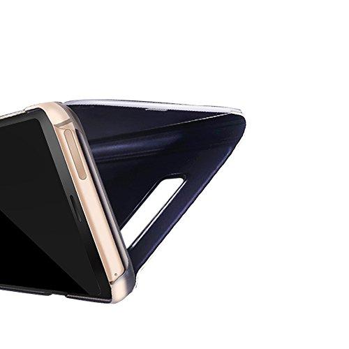 Galaxy S9 Plus Espejo Flip Case Funda, Carcasa Samsung Galaxy S9+, PLECUPE Ultra Slim Claro 360 Degree Cuerpo Completo Folio Book Billetera Funda Estuche con Stand Función, Plating Dura PC Plástico Ba Púrpura#1