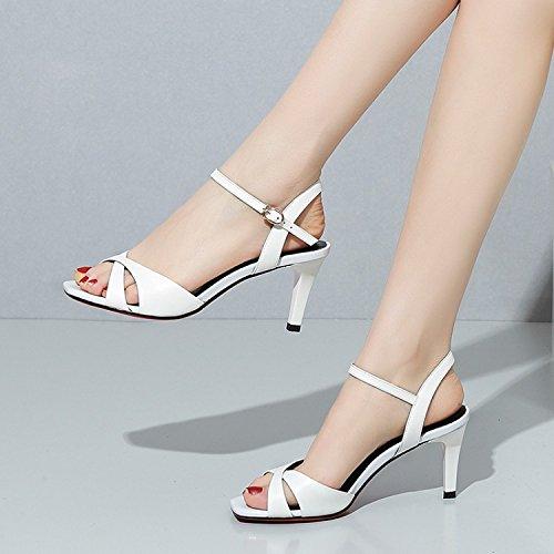 Jqdyl High Heels Weibliche Sandalen Sommer Stiletto Heels Fischnudeln Wild  34|White