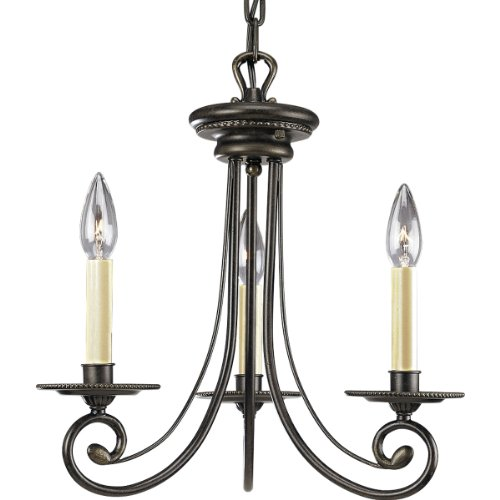 Progress Lighting P4096-77 3-Light Chandelier with Ivory Candles and Chain and Ceiling Mounts Both Included, Forged Bronze