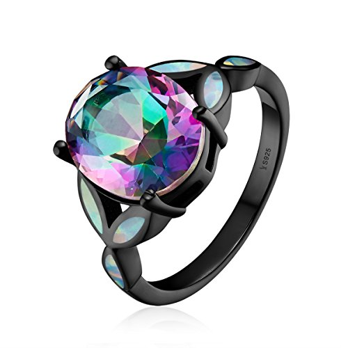 Colorful Opal Ring - BISAER Black Gold Plate Genuine 925 Sterling Silver Precision Cutting Opal Colorful Light Eternity Promise Stacking Rings Size 6