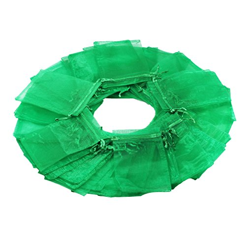 100Pcs 4x6 Inches Sheer Drawstring Organza Jewelry Pouches Wedding Party Christmas Favor Gift Bags (Green) -