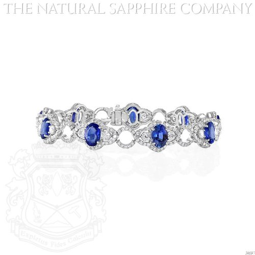 14K White Gold Estate Style Bracelet with Oval Sapphires and Round Diamonds. (J4697) - Blue Sapphire Estate Bracelet