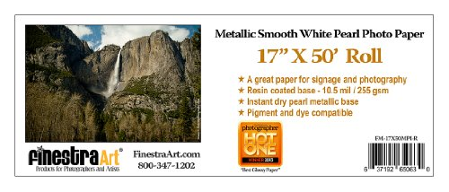 17'' X 50' Roll Metallic Smooth White Pearl Inkjet Photo Paper [Office Product] by Finestra Art