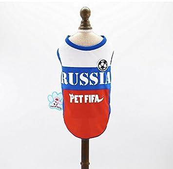 Pet Fifa Camiseta de fútbol para perro, diseño de la Copa Mundial de Rusia