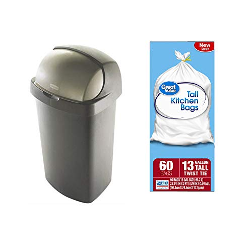 - Rubbermaid 52-Qt. Bronze Roll Top Waste Can Bundle with Great Value Tall Kitchen Twist Tie Trash Bags, 13-Gallon in 60 Count
