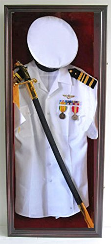Military Shadow Box Uniform Sword/Gun Display Case, with LOCK. Mahogany finish. FC44(RED)-MAH (Military Hat Display compare prices)