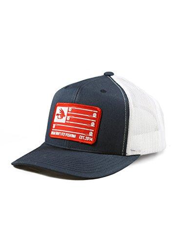 Fly fishing hat stars stripes navy white trucker for Fishing snapback hats