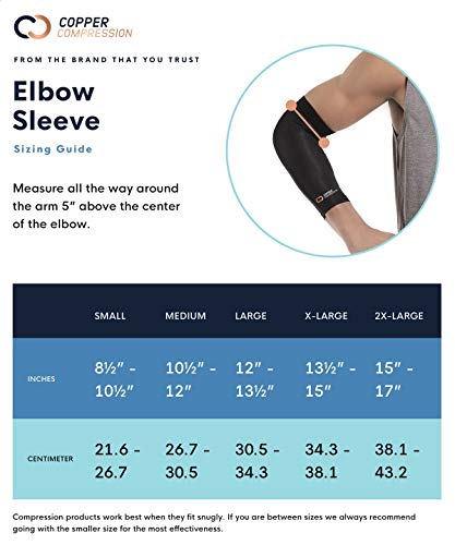 Copper Compression Recovery Elbow Sleeve - Guaranteed Highest Copper Content Elbow Brace for Tendonitis, Golfers or Tennis Elbow, Arthritis. Elbow Support Arm Sleeves Fit for Men and Women (Large) 8