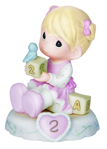 (Precious Moments,  Growing In Grace, Age 2, Bisque Porcelain Figurine, Blonde Girl, 142011)