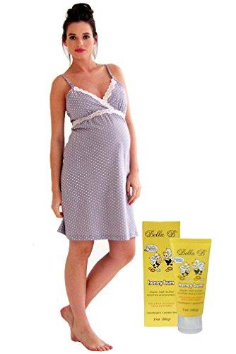 (Belabumbum Bundle:2 Items Dottie Nursing Nightgown&BellaB HoneyBum DiaperRash2oz - Grey Dot - Small)