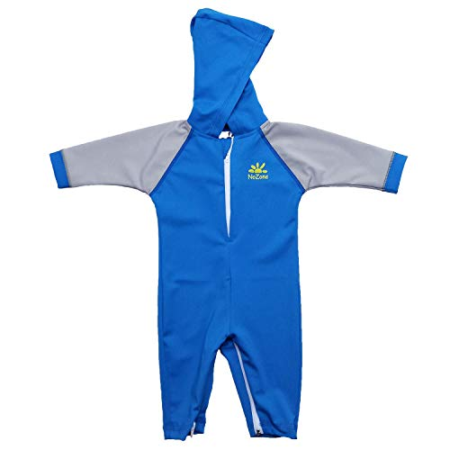 Nozone Kailua Sun Protective Hooded Baby Swimsuit in Smurf/Titanium, 6-12 Months -