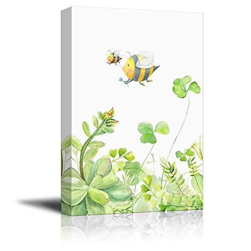 Succulent Plants Series Watercolor Style Plants on White Background with Cartoon Bees