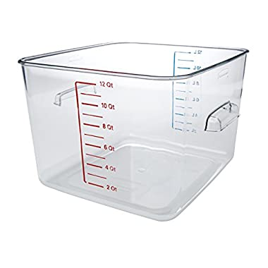Rubbermaid Commercial Space Saving Square Food Storage Container, 12-Quart, Clear (FG631200CLR)