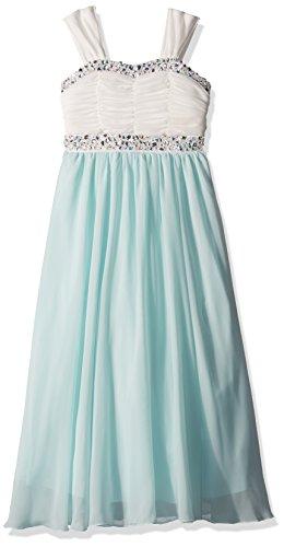Speechless Girls' Big Sweatheart Jeweled Shirred Bodice Maxi Dress, Ivory/Mint 12