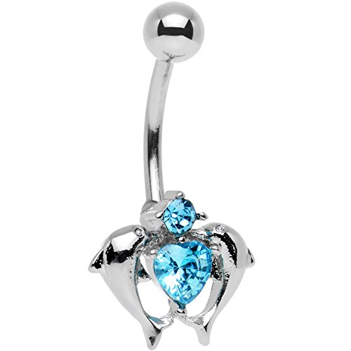 Body Candy Stainless Steel Brilliant Blue Accent Double Dolphin Heart Belly Ring ()