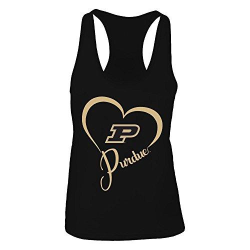 FanPrint Purdue Boilermakers Tank Top - Team Name Heart Outline - Women's Tank Top/Black/S