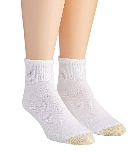 Non Binding Quarter Sock (Gold Toe Men's Non Binding Super Soft Quarter 2 Pack Md, White, Sock Size: 10-13/Shoe Size:9-11)
