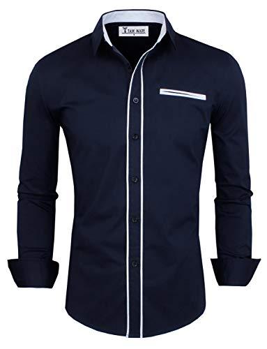 (TAM Ware Mens Premium Casual Inner Contrast Dress Shirt, NAVY, SMALL)