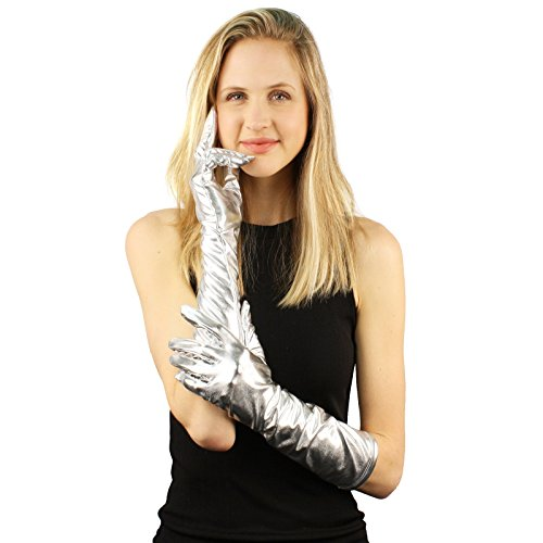 Shiny Glossy Metallic Finish Stretchy Elbow Length Dressy Formal Gloves Silver ()