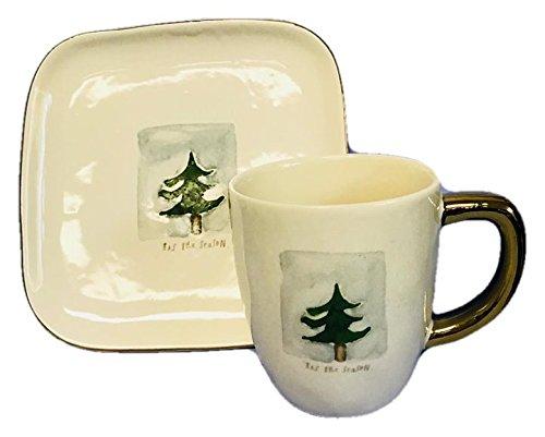 Rae Dunn Ceramic Christmas Holiday Tis The Season Mug and Dessert Plate Set Artisan Collection by Rae Dunn by Magenta